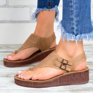 Women's Buckle Hollow-out Flip-Flops Wedge Heel Sandals Platforms_4