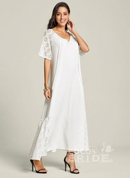 White Plus Size Peasant Solid V-Neckline Casual Lace Plus Dress_2