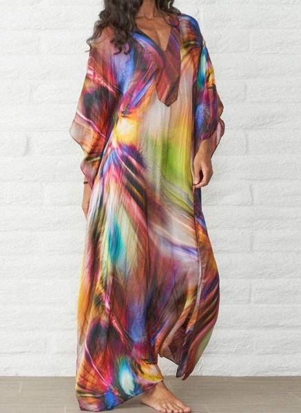Brown Plus Size Color Block V-Neckline Casual Arabian Maxi Shift Dress Plus Dress_6