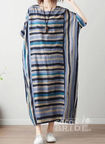 Green Plus Size Tunic Color Block Round Neckline Casual Midi Plus Dress_5