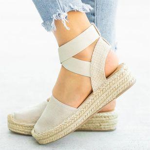 Women's Slingbacks Cloth Flat Heel Sandals Platforms_3