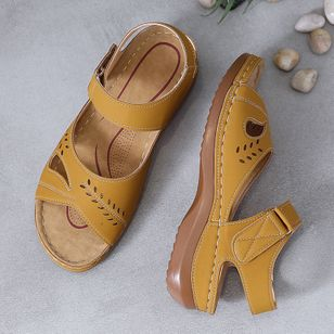 Women's Hollow-out Slingbacks Flat Heel Sandals_3