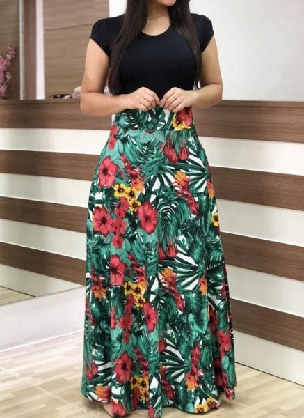 Casual Floral Wrap Round Neckline X-line Dress_1