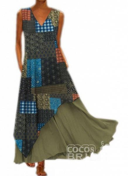 Yellow Casual Geometric Tunic V-Neckline A-line Dress_3