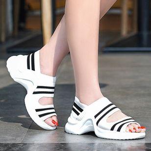Women's Peep Toe Fabric Low Heel Sandals_4