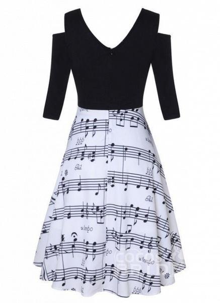 Black Plus Size Color Block V-Neckline Casual Knee-Length X-line Dress Plus Dress_3