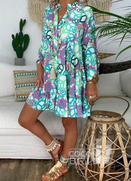 Blue Plus Size Peasant Floral V-Neckline Boho Above Knee Plus Dress_6