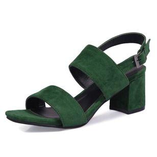 Women's Buckle Slingbacks Nubuck Chunky Heel Sandals_1