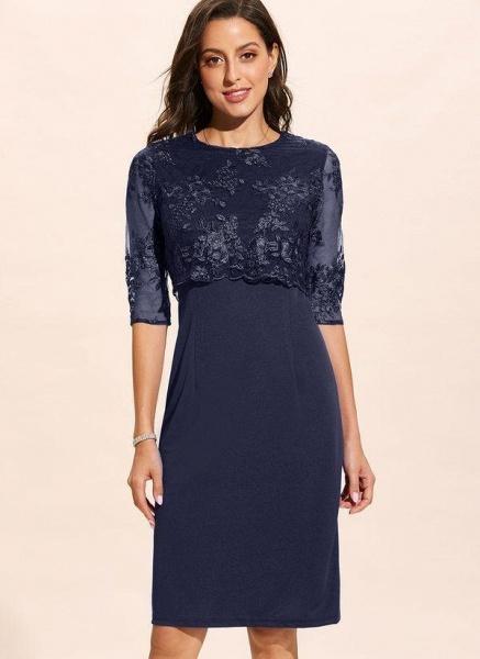 Dark Blue Plus Size Solid Round Neckline Elegant Midi X-line Dress Plus Dress_1
