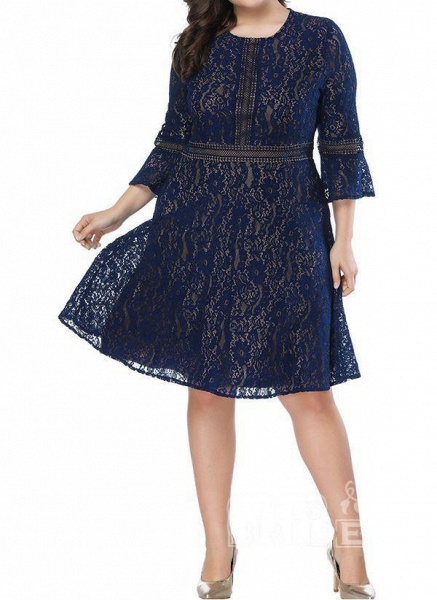 Green Plus Size Skater Solid Round Neckline Casual Lace Plus Dress_7