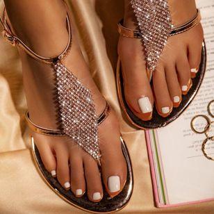 Women's Crystal Flip-Flops Flat Heel Sandals_11