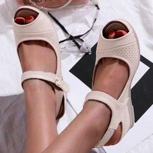 Women's Buckle Hollow-out Peep Toe Slingbacks Wedge Heel Sandals_3