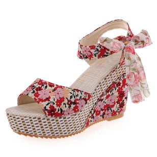 Women's Lace-up Flower Slingbacks Cloth Wedge Heel Sandals_6