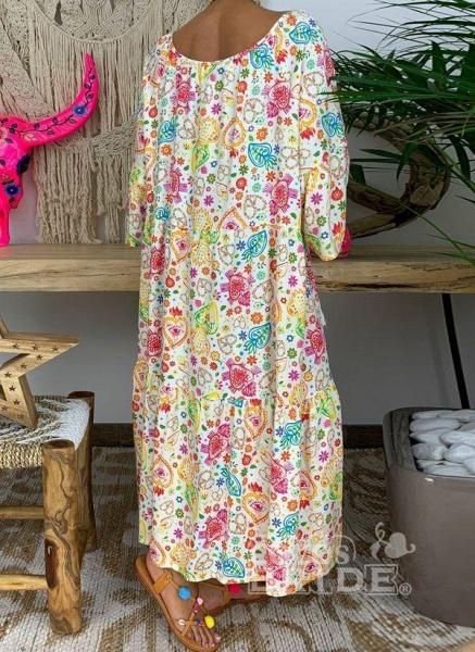 Multicolor Plus Size Floral V-Neckline Vintage Tassel Maxi Plus Dress_5