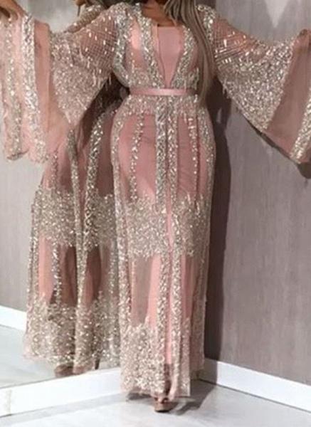 Elegant Color Block Pencil Round Neckline Sheath Dress_3