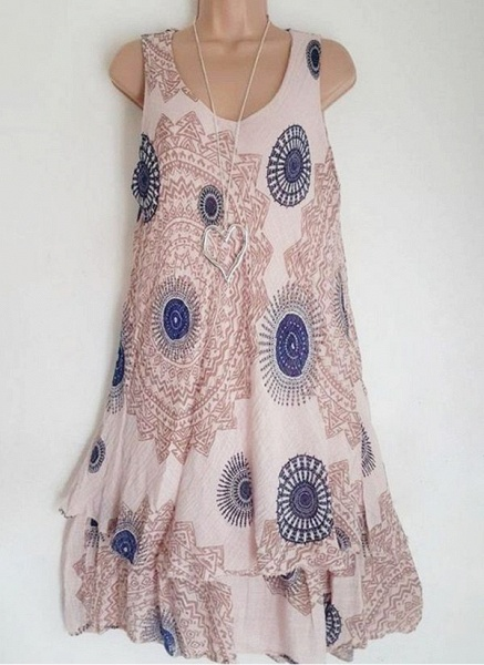 Casual Floral Round Neckline Above Knee Shift Dress_3