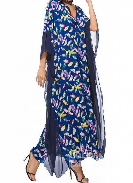 Blue Plus Size Tunic Color Block V-Neckline Casual Maxi Plus Dress_2