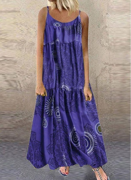 Blue Plus Size Tunic Color Block Camisole Neckline Casual Maxi Plus Dress_1