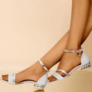 Women's Crystal Buckle Low Top Low Heel Sandals_2