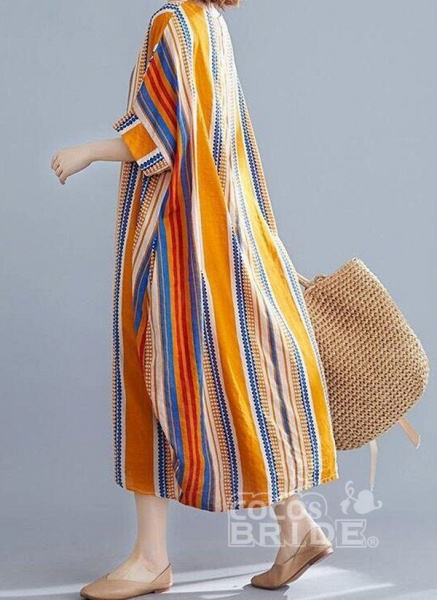 Orange Plus Size Tunic Stripe Round Neckline Casual Midi Plus Dress_2