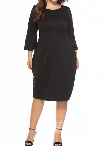 Green Plus Size Pencil Solid Round Neckline Casual Knee-Length Plus Dress_4