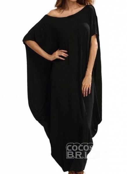 Black Plus Size Tunic Solid Round Neckline Casual Maxi Plus Dress_7
