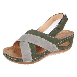 Women's Velcro Round Toe Nubuck Low Heel Sandals_3