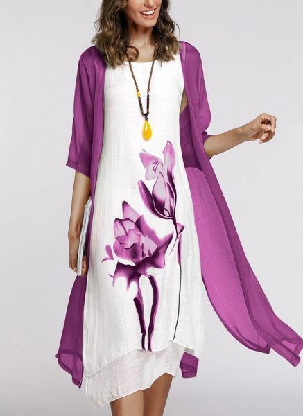 Floral Wrap Round Neckline Midi X-line Dress_21
