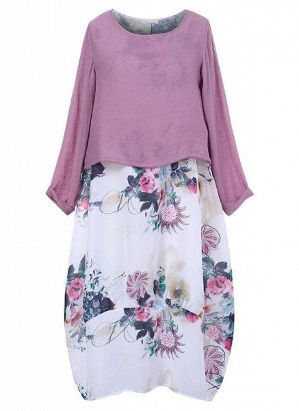 Purple Plus Size Floral Round Neckline Casual Maxi O Dress Plus Dress_1