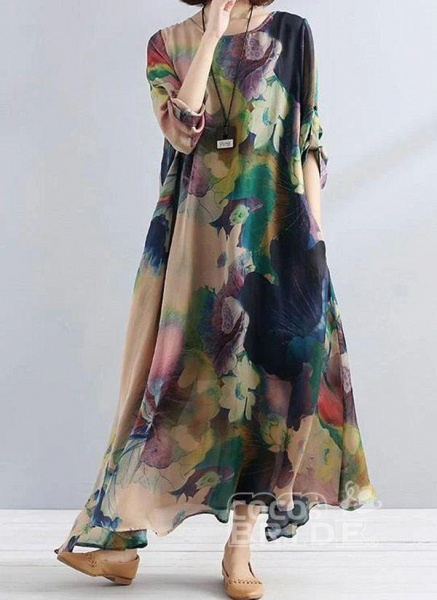 Multicolor Tunic Floral Round Neckline Casual Pockets Plus Dress_3