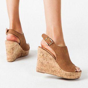 Women's Buckle Ankle Strap Peep Toe Wedge Heel Sandals_4