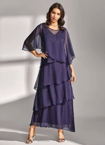 Dark Blue Elegant Solid Round Neckline Maxi X-line Dress