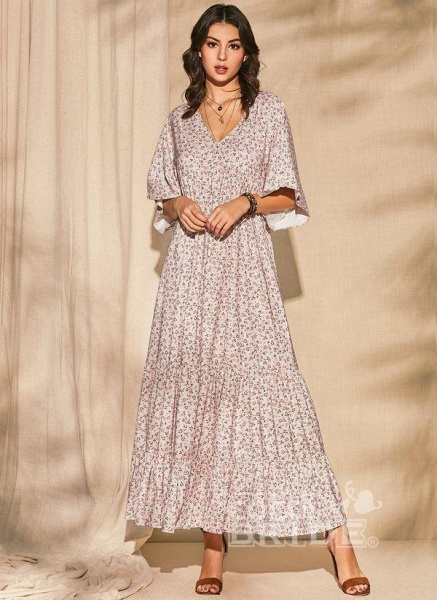 Pink Plus Size Color Block V-Neckline Casual Maxi Shift Dress Plus Dress_5