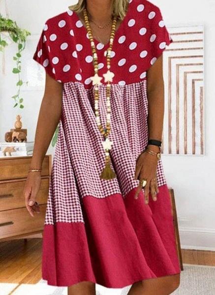 Black Plus Size Tunic Polka Dot V-Neckline Casual Knee-Length Plus Dress_3
