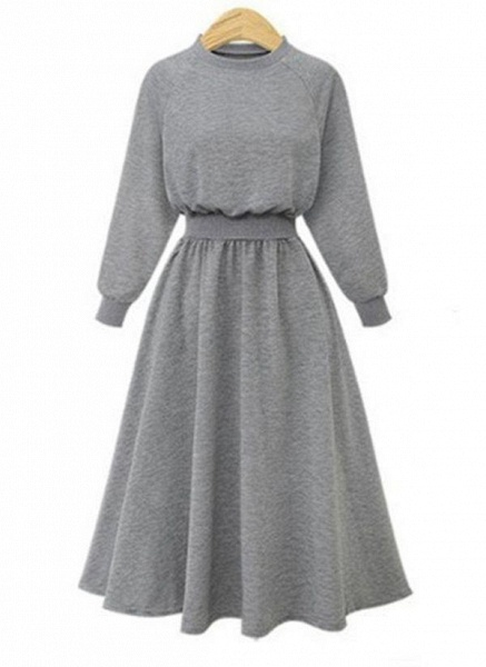 Gray Plus Size Solid Round Neckline Elegant Midi X-line Dress Plus Dress_1