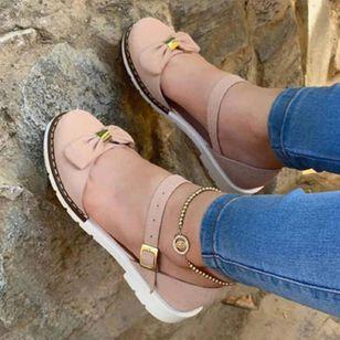 Women's Buckle Closed Toe Low Heel Sandals_2