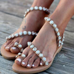 Women's Flower Flats Slingbacks Flat Heel Sandals_2