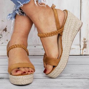 Women's Buckle Slingbacks Cloth Wedge Heel Sandals Platforms_3
