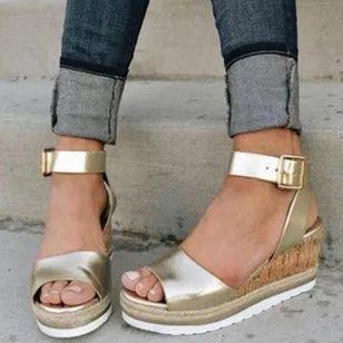 Women's Buckle Modern Wedge Heel Sandals_1