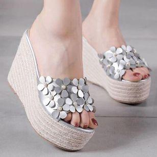 Women's Flower Peep Toe Wedge Heel Sandals_9