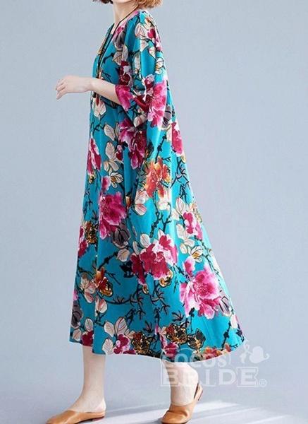 Blue Plus Size Tunic Floral Round Neckline Casual Midi Plus Dress_2