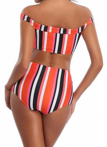 Polyester Off the Shoulder Color Block Bikinis Swimwear_2