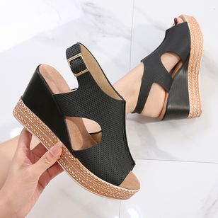Women's Buckle Peep Toe Slingbacks Wedge Heel Sandals_2