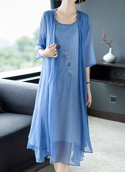 Casual Floral Tunic Round Neckline Shift Dress_2