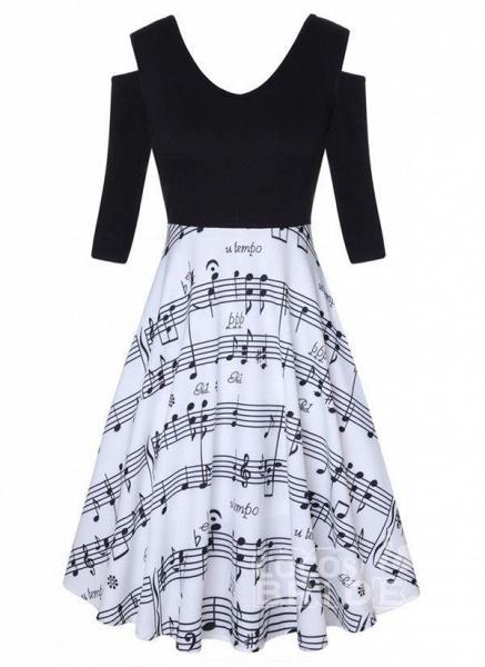 Black Plus Size Color Block V-Neckline Casual Knee-Length X-line Dress Plus Dress_2