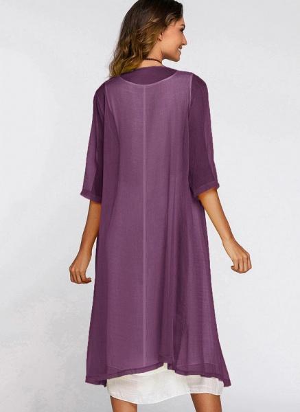 Floral Wrap Round Neckline Midi X-line Dress_19