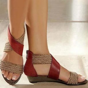 Women's Zipper Round Toe Wedge Heel Sandals
