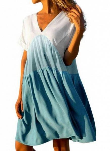 Rose Plus Size Tunic Color Block V-Neckline Casual Above Knee Plus Dress_4