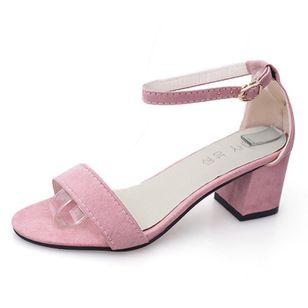 Women's Ankle Strap Peep Toe Nubuck Chunky Heel Sandals_2