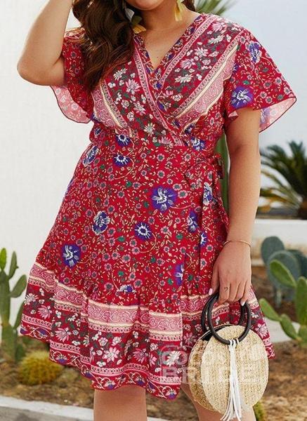 Red Plus Size Skater Floral V-Neckline Boho Sashes Plus Dress_5